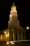 Saint Michael's Church with Ghostly Car Headlights. Saint Michael's Church with ghostly headlights photographed at night in Charleston, South Carolina royalty free stock image