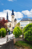 Saint Michael's Church near street in Luxemburg Royalty Free Stock Images