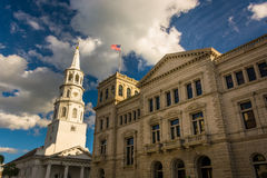 Saint Michael's Church and the Post Office in Charleston, South Stock Photos