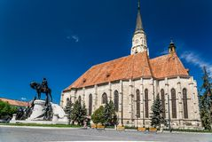 Saint Michael's gothic church and King Mathias royalty free stock image