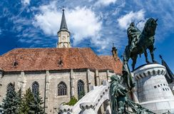 Saint Michael's gothic church and King Mathias royalty free stock photography
