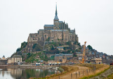 Saint Michael's Mount on a rocky cliff.  Normandy, France. Stock Images