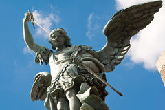 Saint Michael statue, Castel Sant'Angelo, Rome. Saint Michael statue at top of Castel Sant'Angelo, Rome Stock Photo