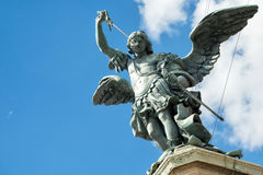 Saint Michael statue on top of Castel Sant`Angelo in Rome Royalty Free Stock Image