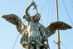 Saint Michael statue at top of Castel Sant`Angelo in Rome Royalty Free Stock Image