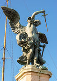 Saint Michael statue at top of Castel Sant`Angelo in Rome Royalty Free Stock Photos