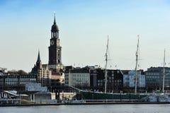 The Saint Michaelis Church and the historic sailing ship Rickmer Royalty Free Stock Image