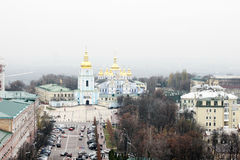 Saint Michaels Cathedral from above. KYIV, UKRAINE - CIRCA NOVEMBER 2013 - Areal view of St. Michael Cathedral and Volodymyr'skyi Passage street in Kyiv, Ukraine Royalty Free Stock Photos