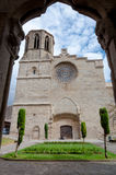 Saint Michel cathedral  and square framed by arc at Carcassonne Royalty Free Stock Image