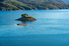 Saint-Michel Chapel and Serre-Poncon Lake in Summer. Alps, France Royalty Free Stock Photography