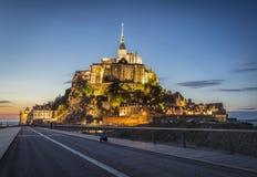 Saint Michel de Mont en la noche Fotografía de archivo