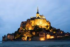 Saint Michel dell'Abbey Le Mont, vista di notte Fotografie Stock Libere da Diritti