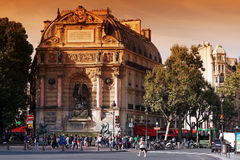 Saint Michel fountain in Paris Stock Photos
