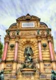 Saint Michel Fountain in Paris - France Stock Photography