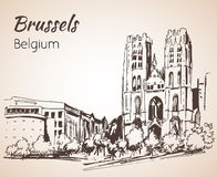 Saint-Michel katedra - Bruksela ilustracja wektor