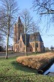 Saint Michel kościół przy pogodnym brzaskiem, skudłacenia, Flandryjscy, Belgia Obraz Royalty Free