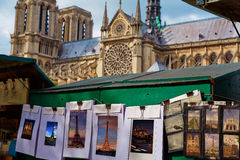 Saint Michel postcards in Notre Dame Paris Stock Photography