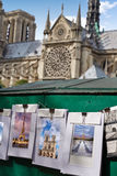 Saint Michel postcards in Notre Dame Paris Stock Image
