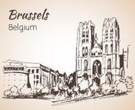 Saint-Michelkathedraal - Brussel vector illustratie