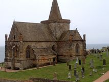 Saint Monans Church or Kirk. Saint Monans old medieval church or kirk in Fife Scotland. Fishing village place of worship. Ancient church has architecture and stock photos