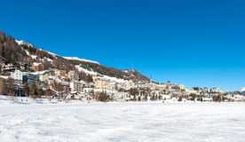 Saint Moritz landscape during winter with sun and snow Stock Photos