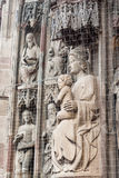 Saint Mother Mary and Baby Jesus, portal of Frauenkirche in Nure Stock Photo