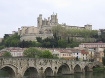 Saint Nazaire Cathedral  River Ob Beziers Stock Image