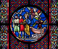 Saint Nectaire church stained glass Royalty Free Stock Photos