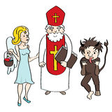 Saint Nicholas, angel and devil stock photography