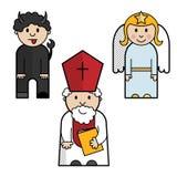 Saint Nicholas, angel and devil stock image