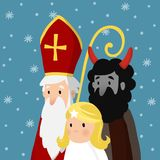 Saint Nicholas with angel, devil and falling snow. Cute Christmas invitation card, vector illustration, winter. Saint Nicholas with angel, devil and falling snow Stock Photography