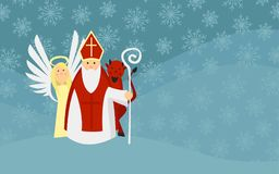 Saint Nicholas with Angel and Devil in Snowy Landscape. European Tradition. Designed for Greeting Card, Invitation Card, Announcement ect Stock Photos