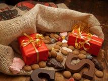 Saint Nicholas bag with gifts stock image
