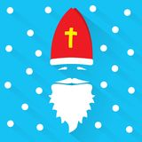 Saint Nicholas on blue background with dots as snowflake and shadow. Greeting Card. Flat design vector illustration stock illustration
