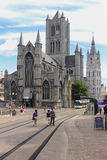 Saint Nicholas Church. Ghent. Belgium. From left to right , Saint Nicholas Church. Sint-Niklaaskerk , and Medieval Belfry. Ghent. Belgium Stock Photography