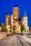 Saint Nicholas Church, Ghent. Night image of Saint Nicholas Church and Belfry tower, one of famous landmarks of Ghent, Gent in Flanders, Belgium royalty free stock photo