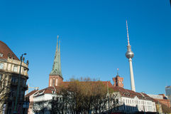 Saint Nicholas Church and Tv Tower Royalty Free Stock Photos