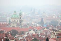 Saint Nicholas Church and Tyn Church in Prague, Czech Republic. Stock Photos