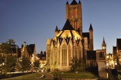 Saint Nicholas' Churchat night located in Ghent, Belgium royalty free stock image