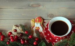 Saint Nicholas cookies. And cup of tea stock photos