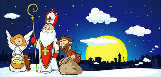 Saint Nicholas, Devil And Angel In Town - Vector Stock Photo