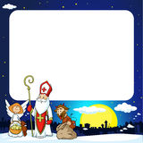 Saint Nicholas, Devil And Angel In Town - Vector Illustration Frame Royalty Free Stock Image