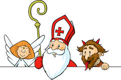 Saint Nicholas, devil and angel peeking out behind white surface - vector Stock Photo