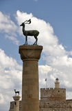 Saint Nicholas Fort, Rhodes and Rhodian deer statues Stock Photo