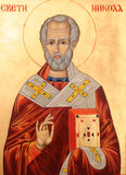 Saint Nicholas on golden background. Icon of Saint Nicholas orthodox style Stock Images