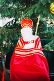 Saint Nicholas human scale toy with mitre and pastoral staff Royalty Free Stock Photography