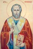 Saint Nicholas of Myra. Icon of Saint Nicholas orthodox style golden background royalty free stock photos
