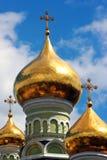 Saint Nicholas Orthodox Cathedral do monastério e do convento da intercessão de Pokrovsky em Kiev, Ucrânia fotografia de stock royalty free