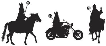 Saint Nicholas Sinterklaas Bishop de Myra no cavalo e a bicicleta vector silhuetas ilustração royalty free