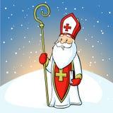 Saint Nicholas on snowy background - vector Stock Photo